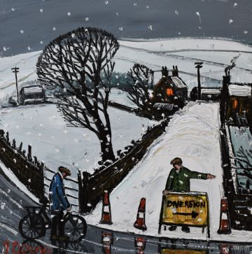 James Downie Original Oil Painting Road Diversion In The Snow